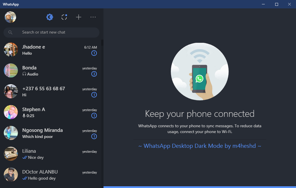 WhatsApp Desktop dark mode