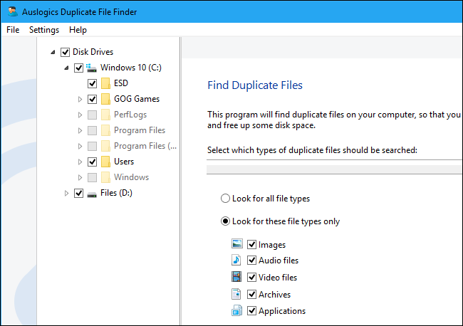Free up disk space by deleting duplicate files