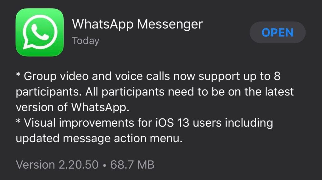 Group video & voice call now support up to 8 participants iOS