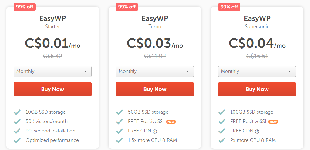 99% off Namecheap hosting